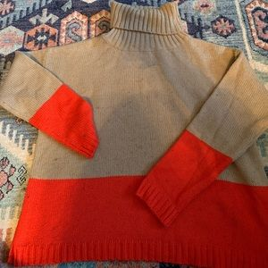Forever 21 Tan Turtleneck with Red Accents